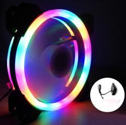 Quạt Tản Nhiệt, Fan Case Coolmoon Ver 2.2 Led RGB 2 Vòng Ring - Không Cần Hub
