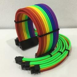 Bộ 4 Dây Nguồn Nối Dài Bọc Lưới Rainbow RGB Cao Cấp