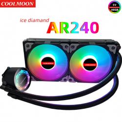 Tản Nhiệt Nước All in One Coolmoon AR240 Led RGB - Đồng Bộ Hub Coolmoon, Hỗ Trợ Sync Main