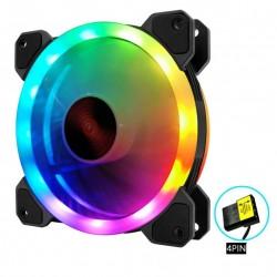 Quạt Tản Nhiệt, Fan Case Led RGB Coolmoon K2 - Tự Động Đổi Màu, Không Cần Hub