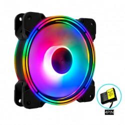 Quạt Tản Nhiệt, Fan Case Led RGB Coolmoon K3 - Tự Động Đổi Màu, Không Cần Hub