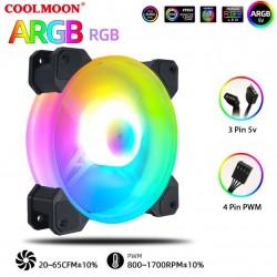 Quạt Tản Nhiệt, Fan Led RGB Coolmoon Y2 Có Điều Tốc PWM - Led Sync Main 3 Pin 5v / Bộ Hub Coolmoon P-ARGB PWM