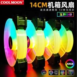 Quạt Tản Nhiệt, Fan 14cm Led RGB Coolmoon Y14 - Đồng Bộ Hub Coolmoon