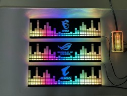 Cover Che Nguồn Máy Tính Led RGB Đồng Bộ Hub Coolmoon Và Mainboard (3Pin 5V) - Họa Tiết Sóng Nhạc và Logo Các Hãng