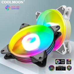 Quạt Tản Nhiệt, Fan Led RGB Coolmoon P1 Có Điều Tốc PWM - Led Sync Main 3 Pin 5v / Bộ Hub Coolmoon P-ARGB PWM