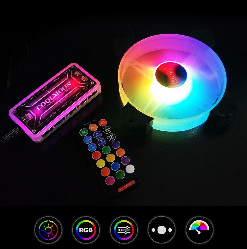 Quạt Tản Nhiệt, Fan Case Coolmoon Y1 Led RGB 16 Triệu Màu, 366 Hiệu Ứng
